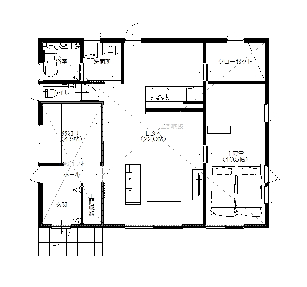 美濃加茂の匠建、K様邸平面図1F