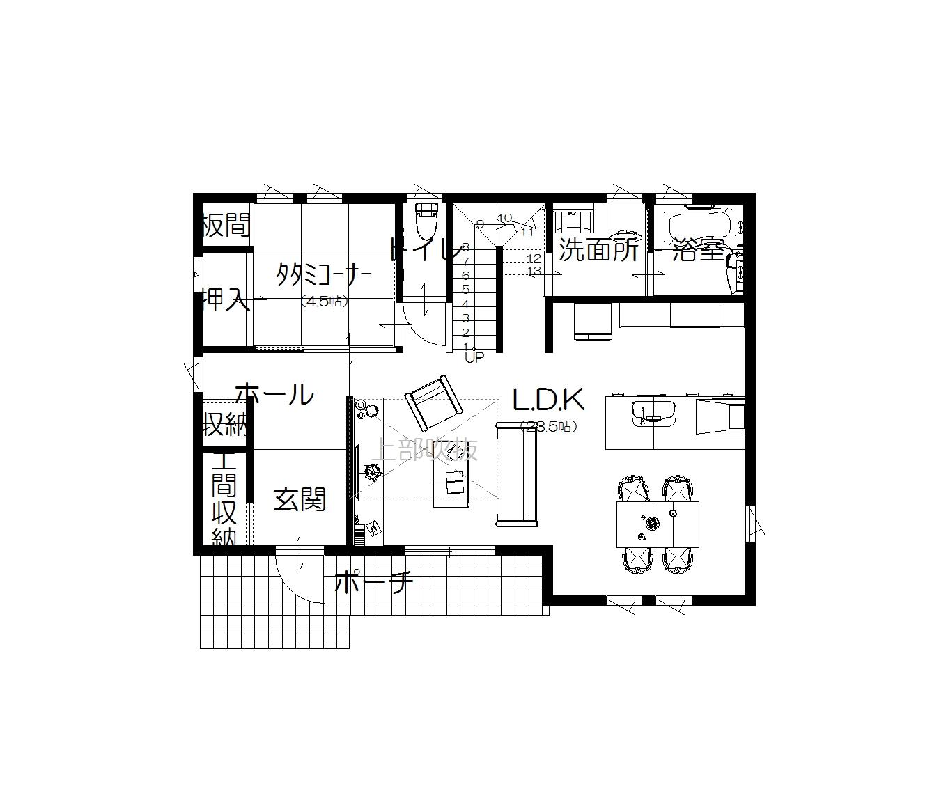 美濃加茂の匠建、M様邸平面図1F