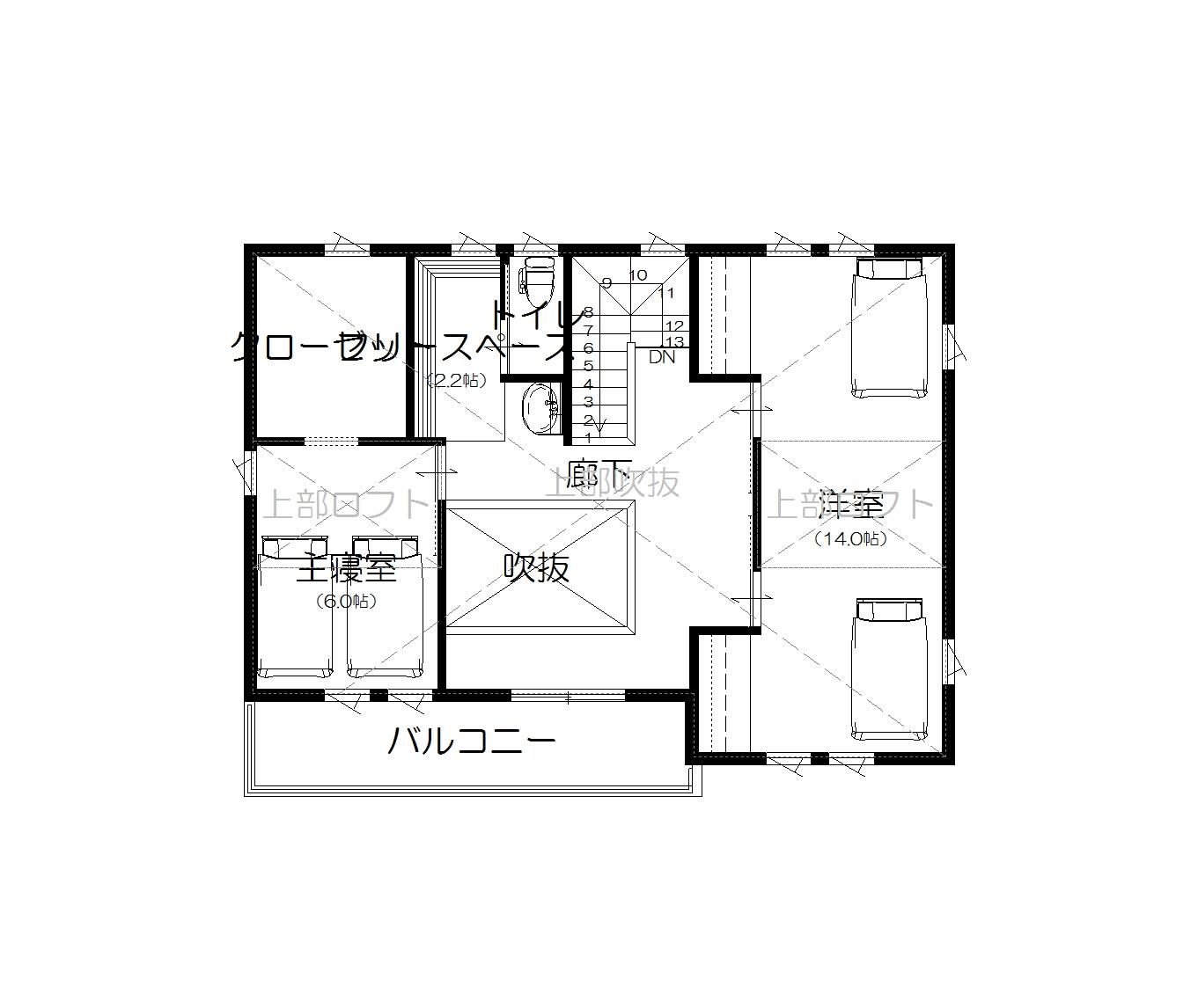 美濃加茂の匠建、M様邸平面図2F
