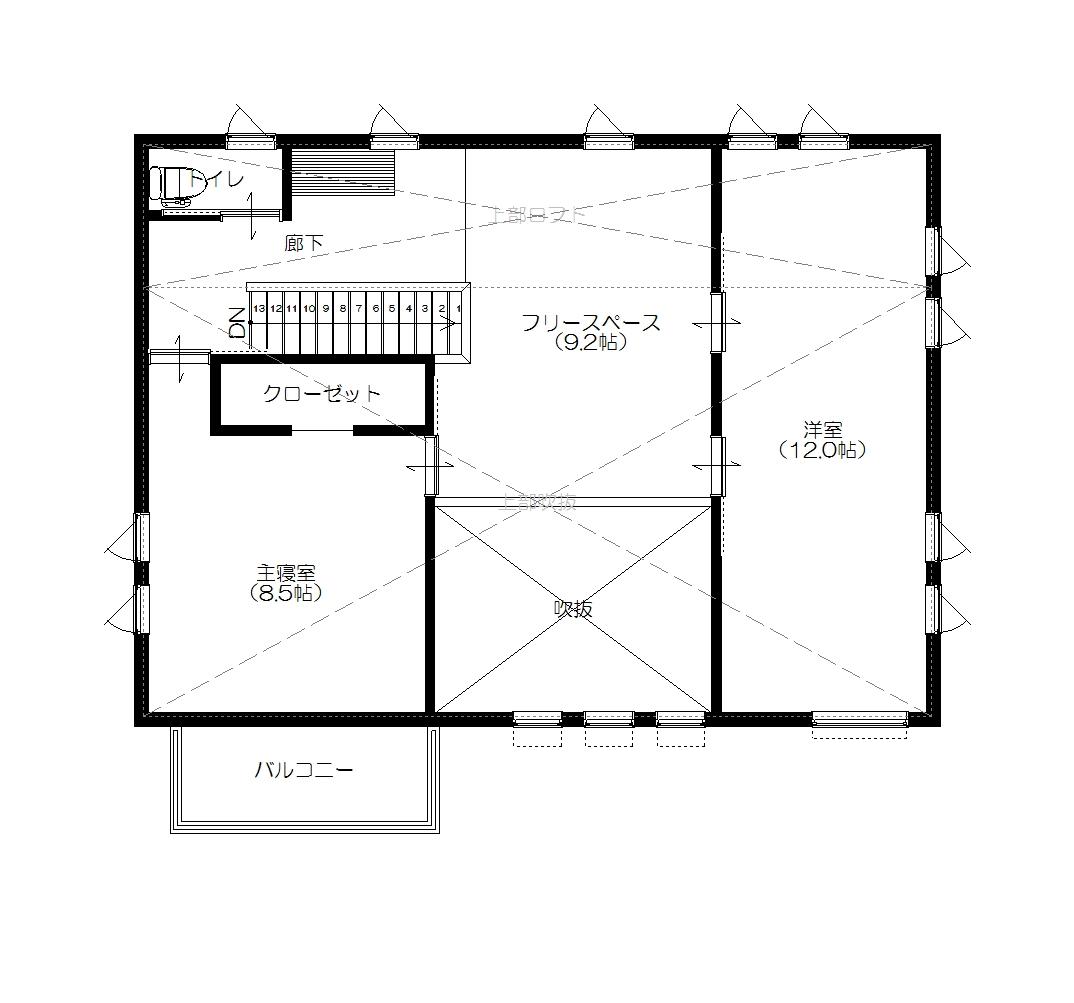 美濃加茂の匠建、モデル棟平面図2F