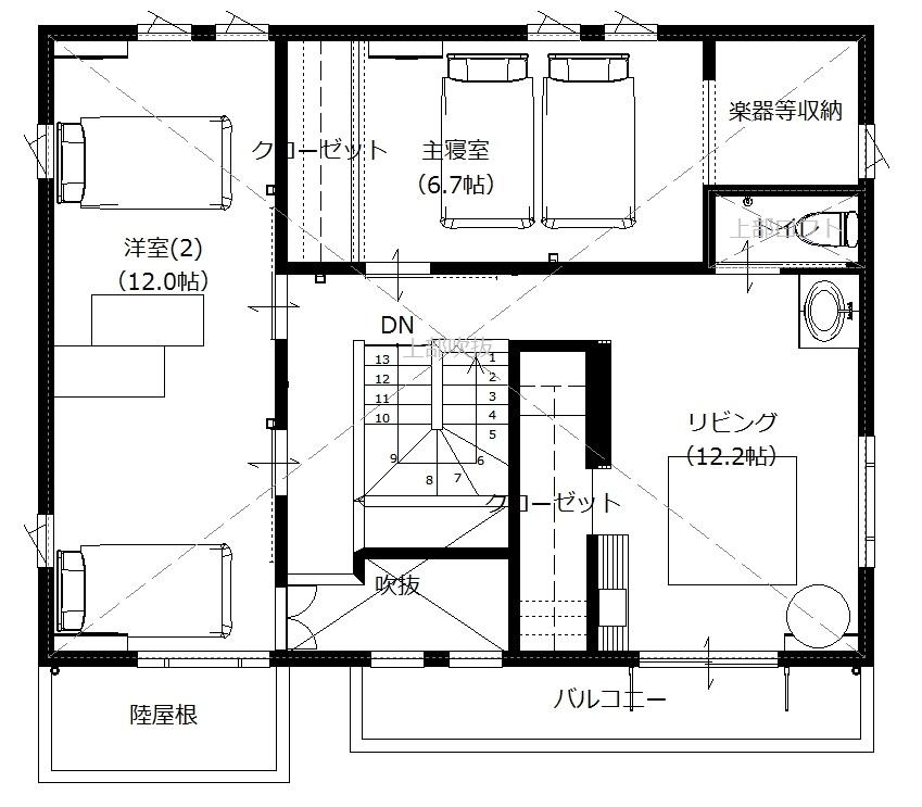 美濃加茂の匠建、S様邸平面図2F