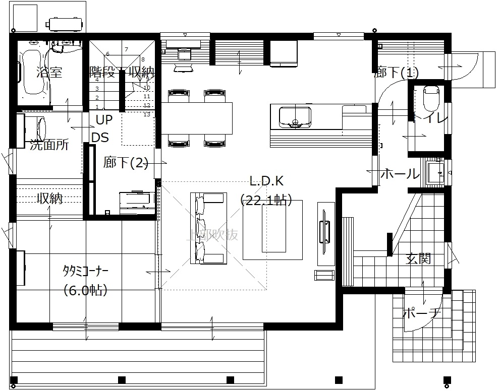 美濃加茂の匠建、SH様邸平面図1F