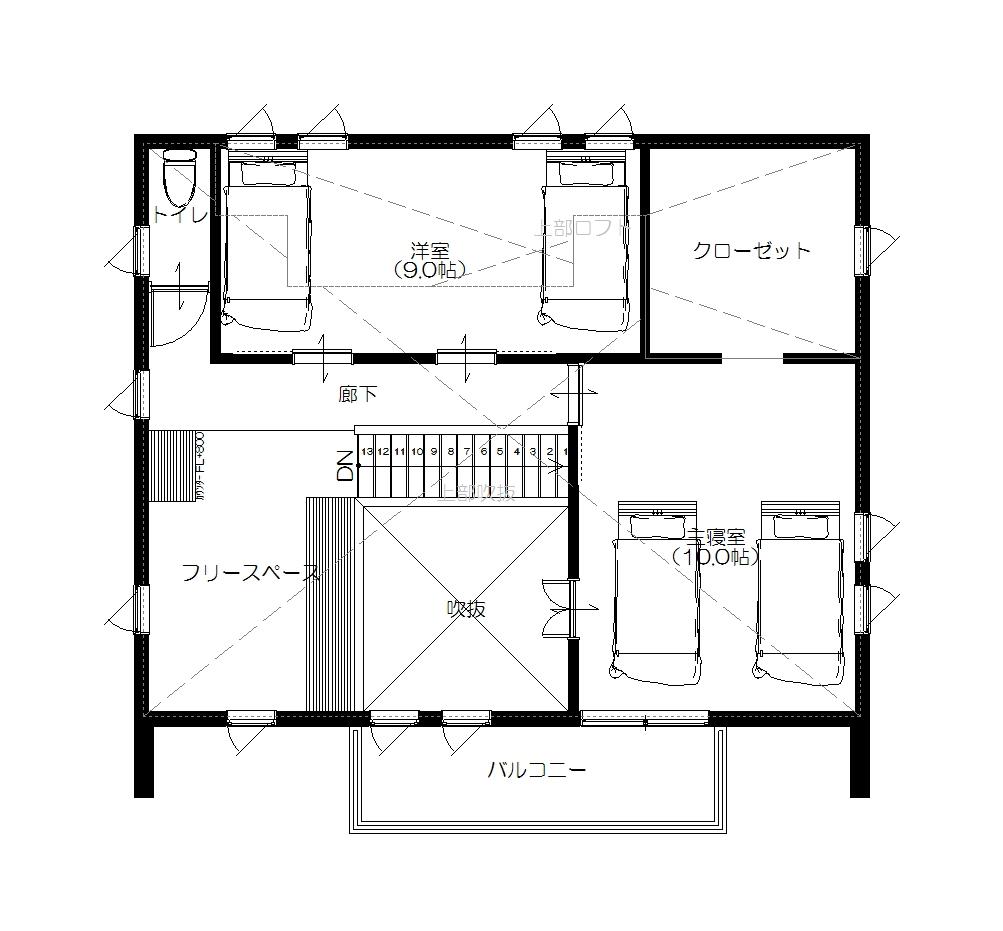 美濃加茂の匠建、I様邸平面図2F