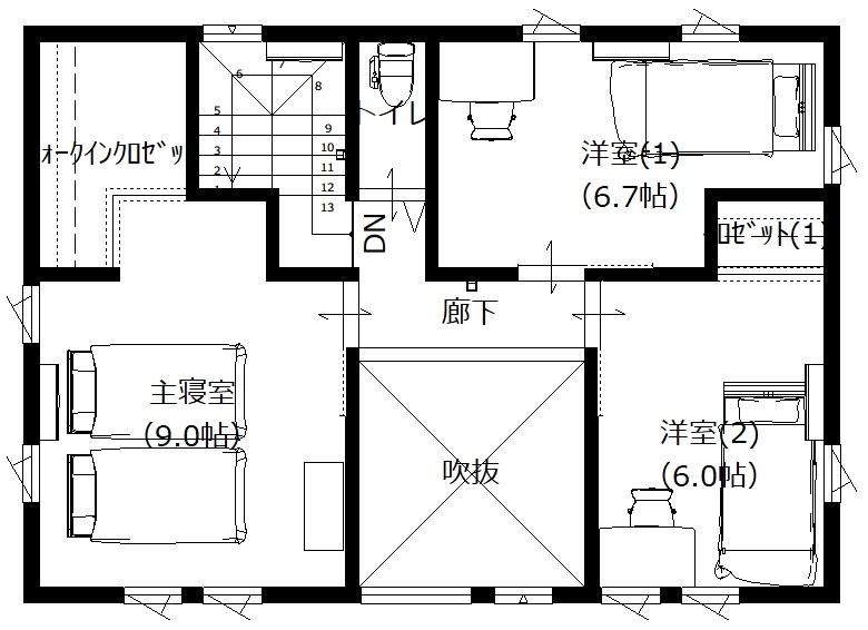 美濃加茂の匠建、SH様邸平面図2F
