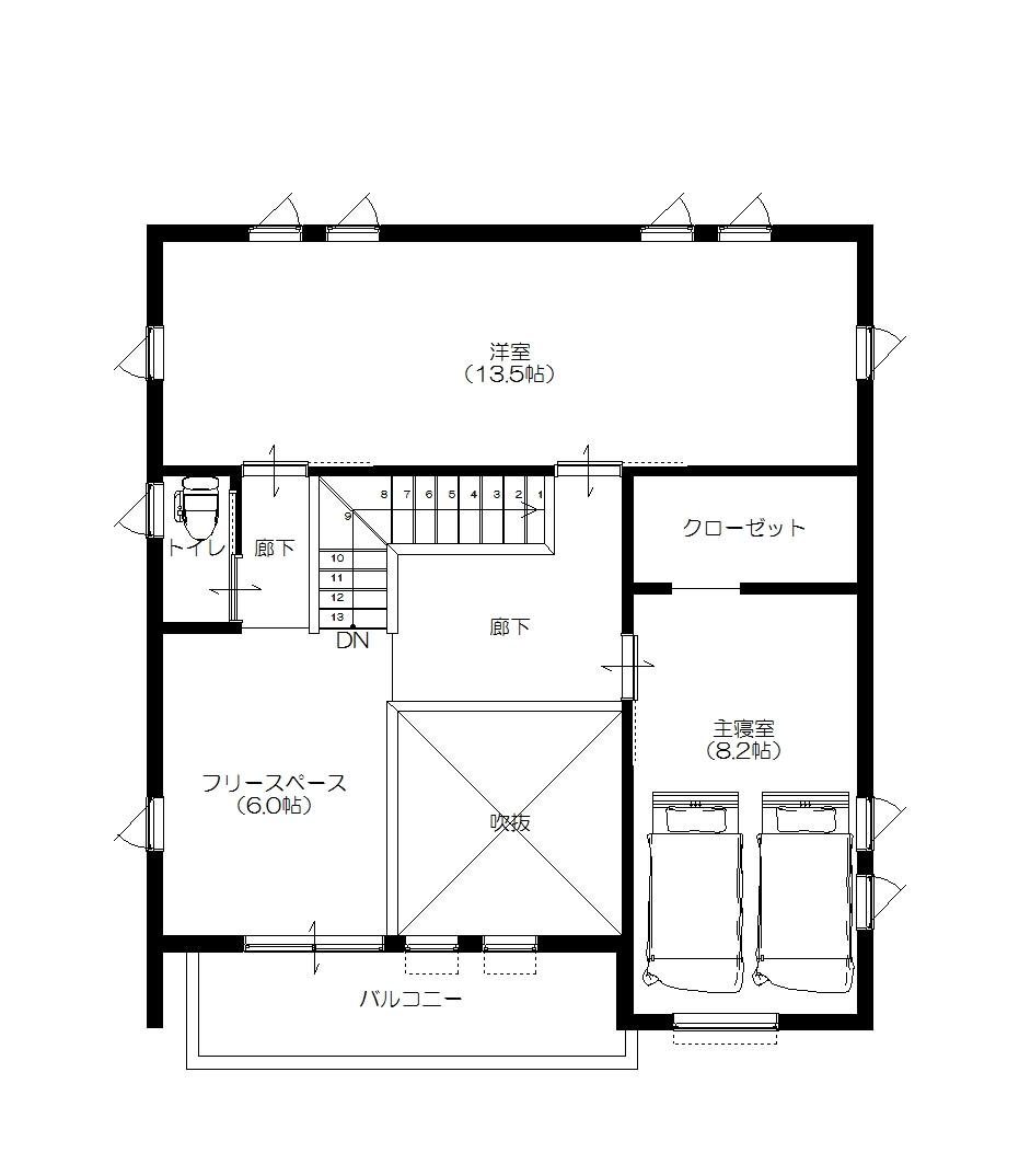 美濃加茂の匠建、T様邸平面図2F